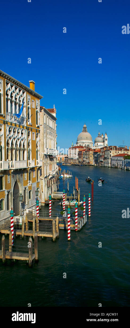 The Grand Canal as seen from Ponte dell Accademia with the Palazzo Franchetti Cavalli on the left and the Basilica Santa Maria - Stock Image