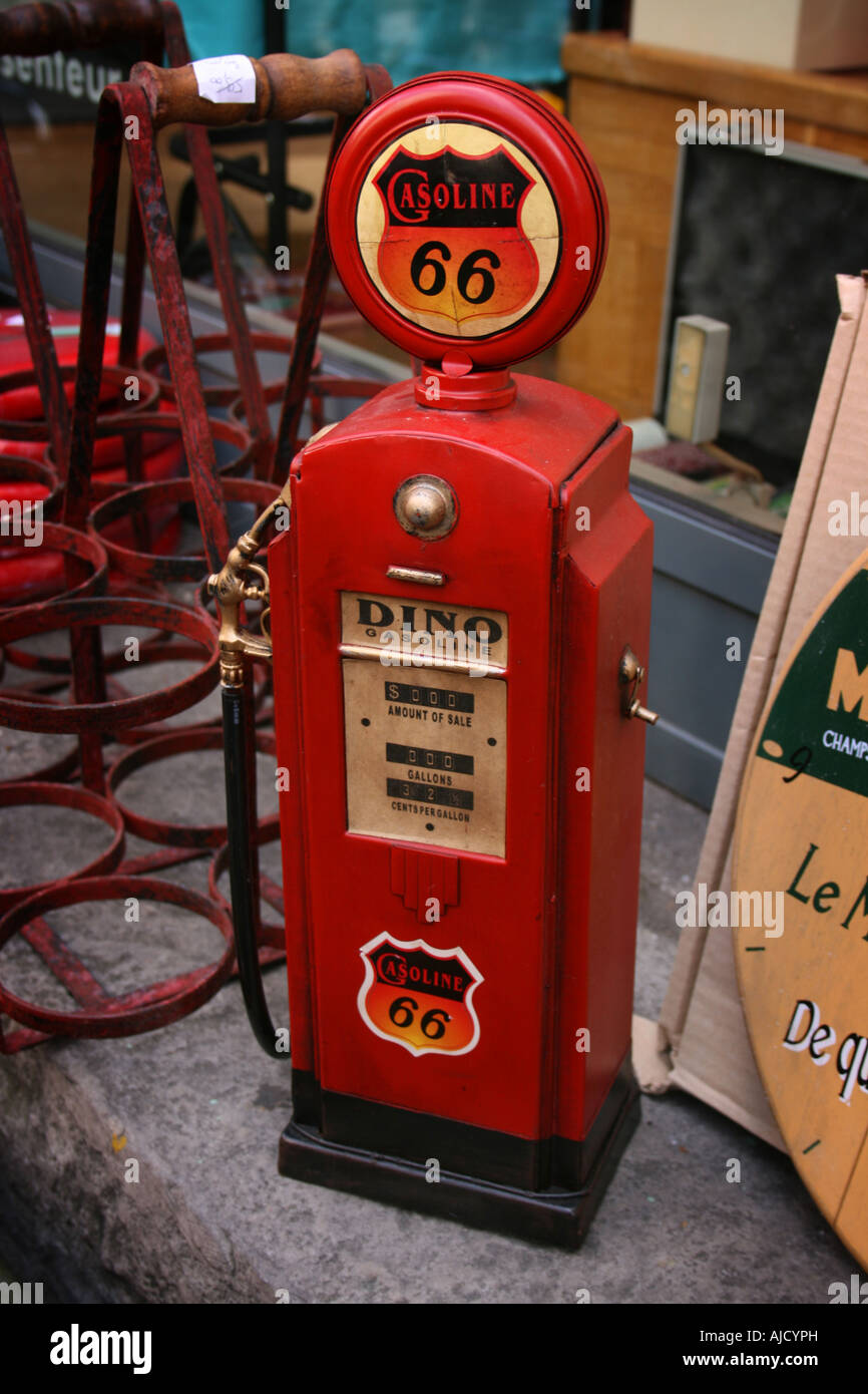 Old gas pump antique toy with route 66, Lille Braderie, France Stock