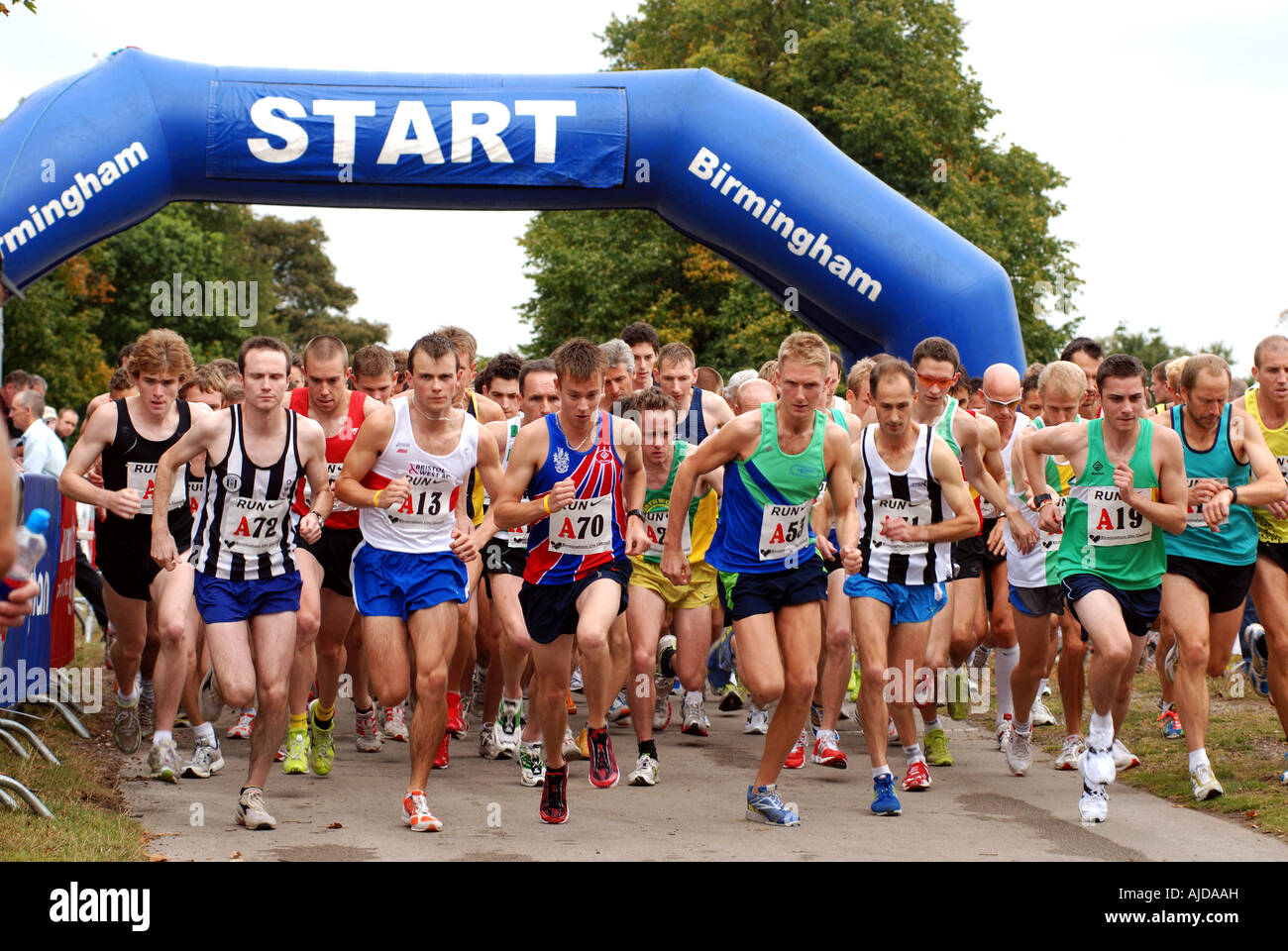 Start of men`s Midland 6 stage Road Relay race, Sutton Park, West Midlands, England, UK - Stock Image