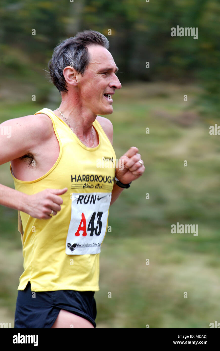 Runner in Men`s Midland 6 stage Road Relay Race at Sutton Park, West Midlands, England, UK - Stock Image