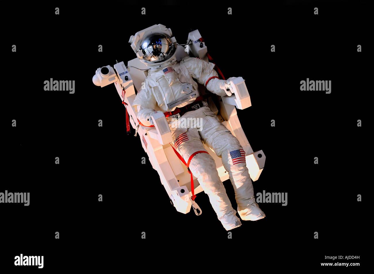 Simulated astronaut in space at The Cite des Sciences at de l'Industrie at La Villette Park in Paris, France Stock Photo
