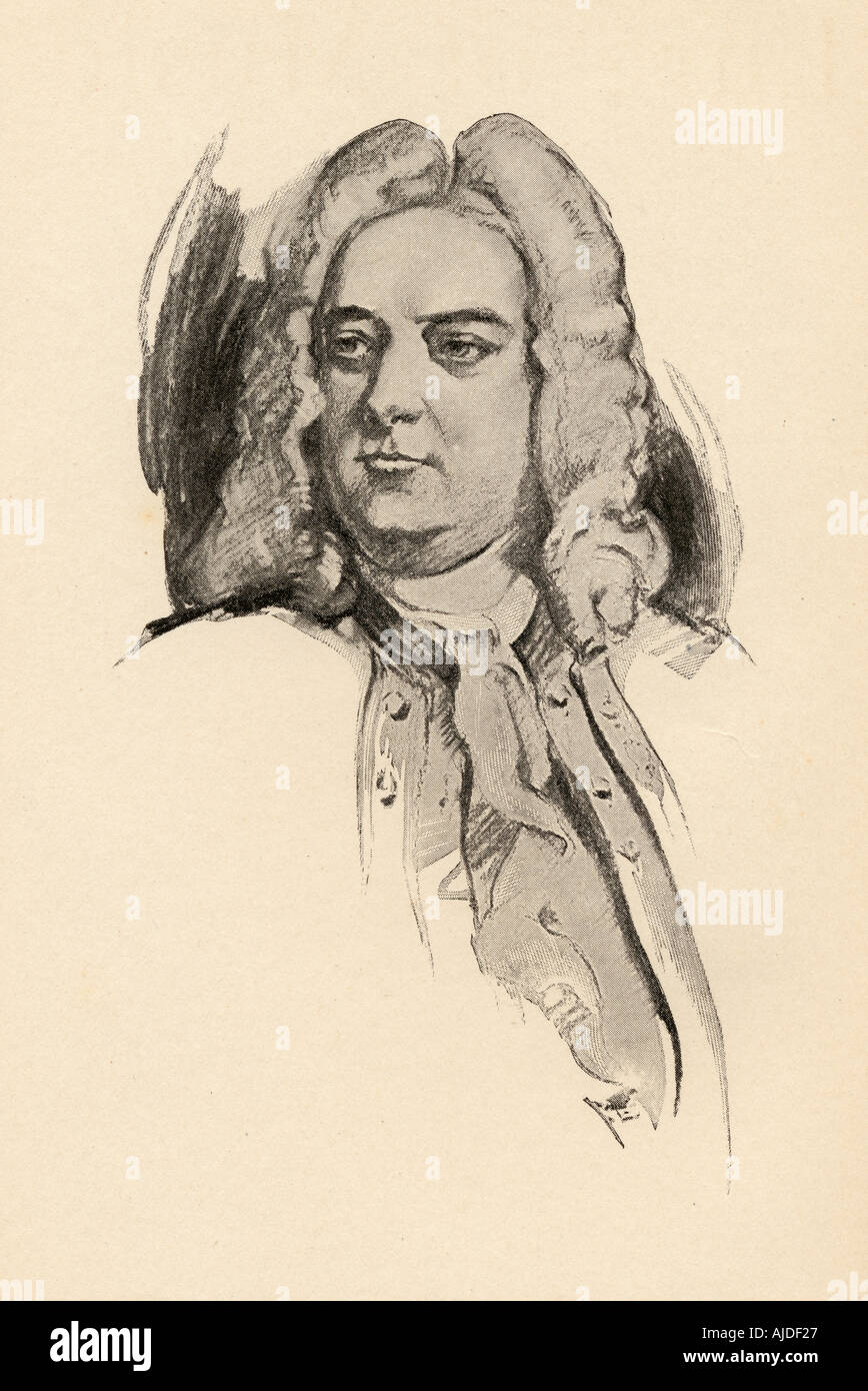 George Frideric (or Frederick) Handel, 1685 - 1759. German born English composer of the late Baroque era. - Stock Image