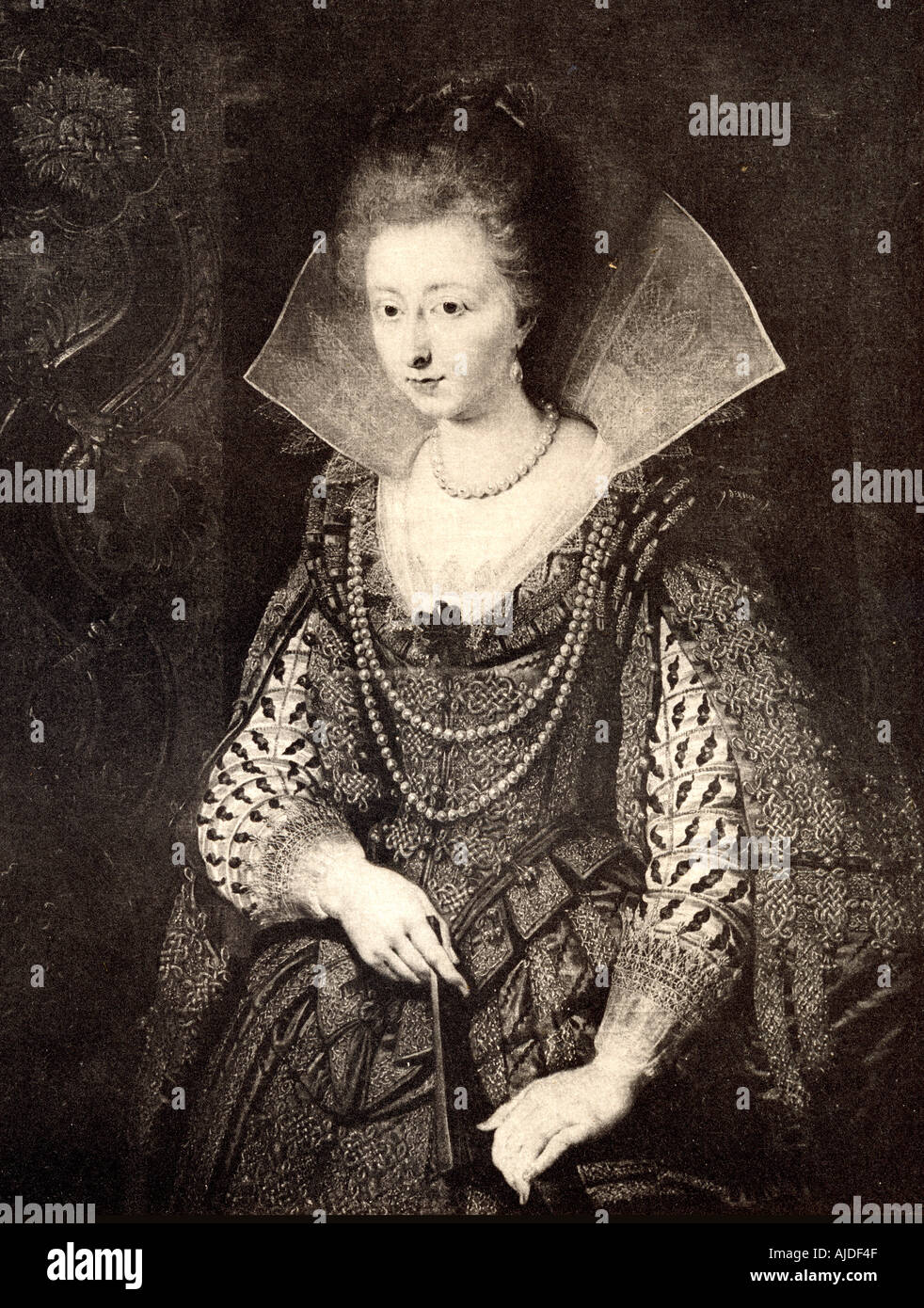 Marie de Medici, 1573 - 1642.  Queen of France as the second wife of King Henry IV.  From the painting by Franz Pourbus the younger. - Stock Image