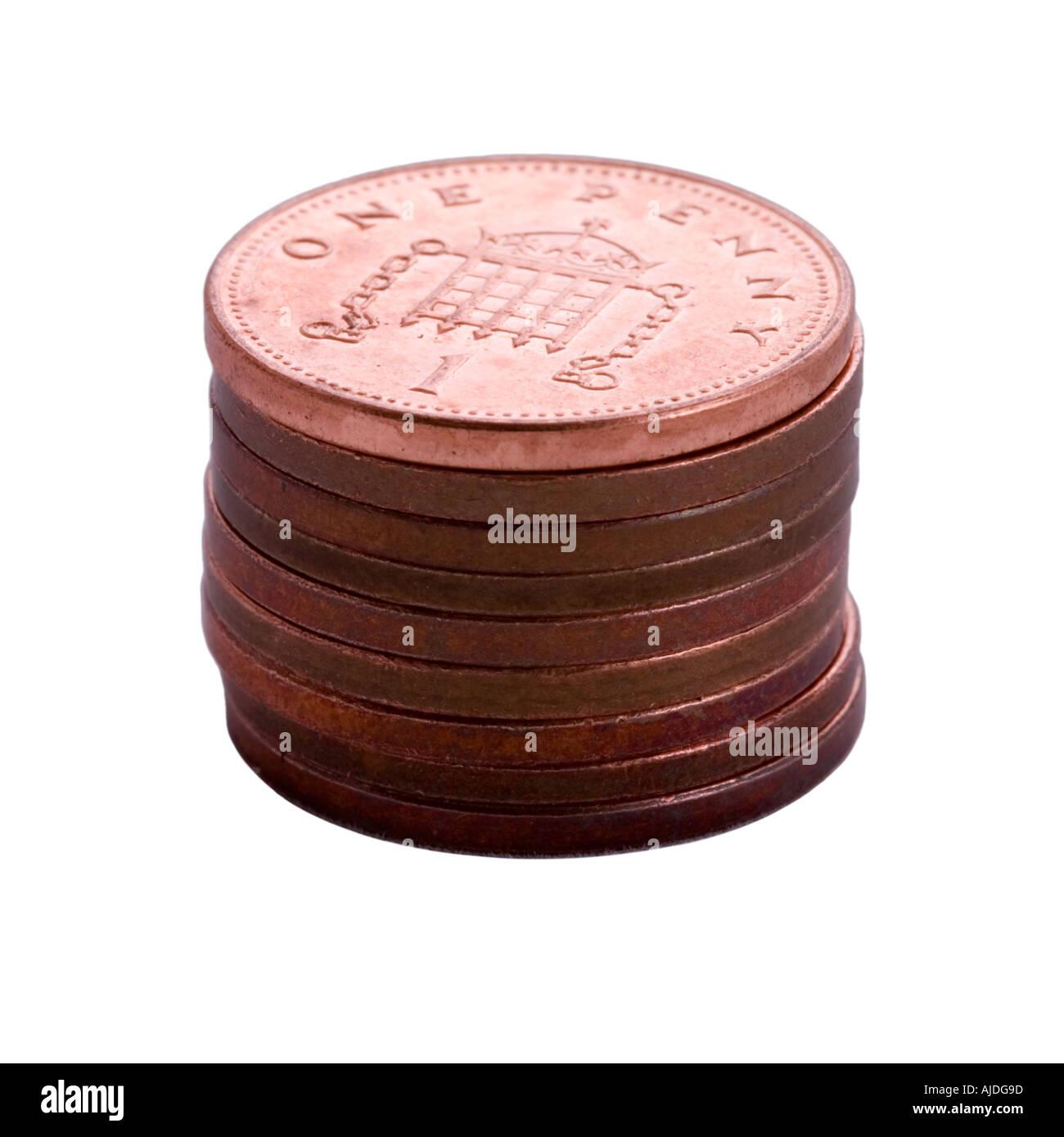 Pile of British pennies - Stock Image