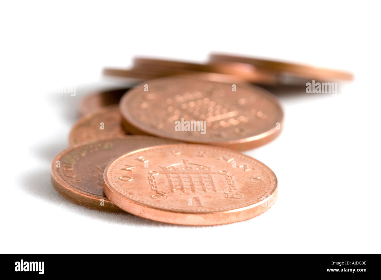 British pennies - Stock Image