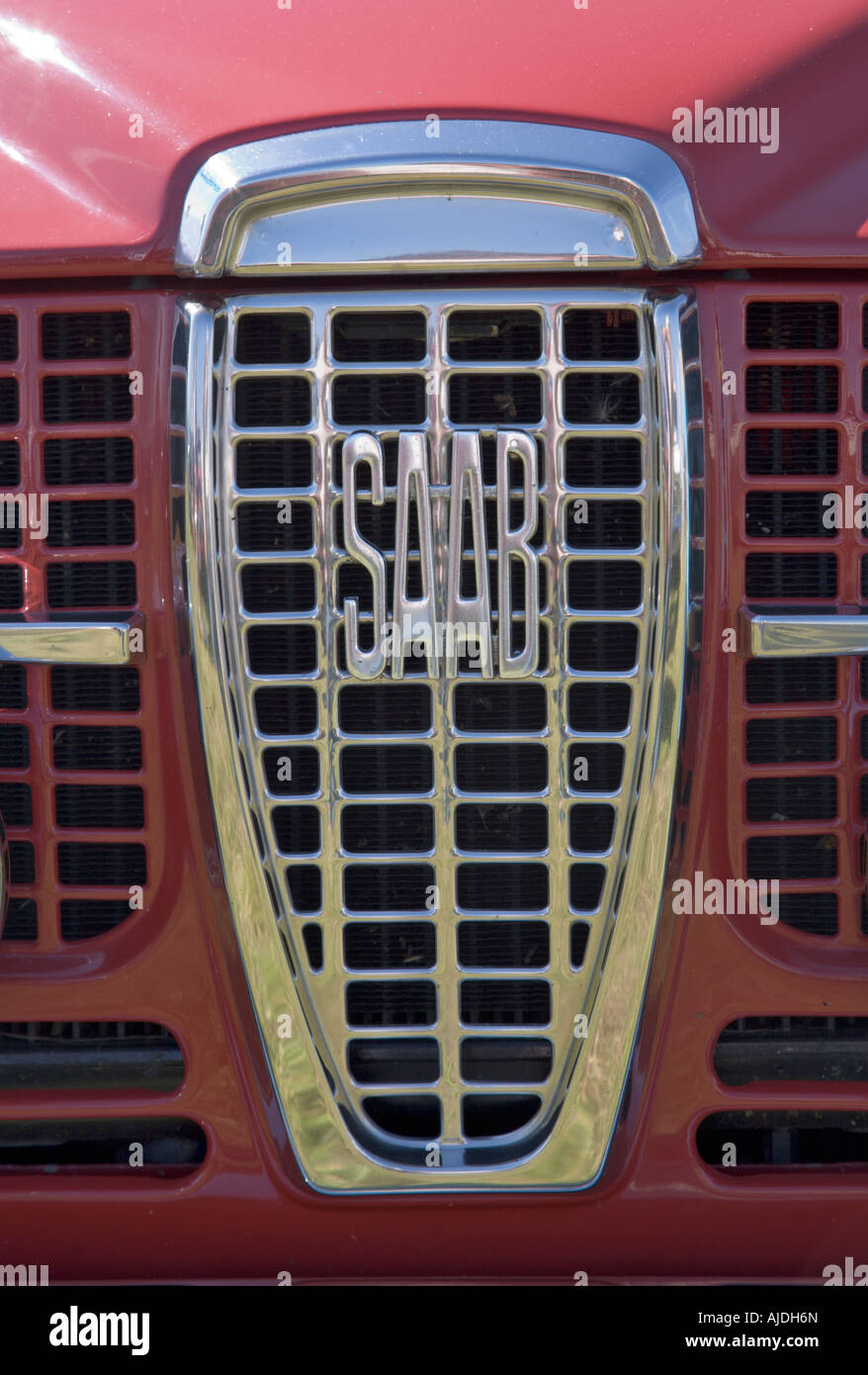 Grill and logo of vintage Saab car - Stock Image