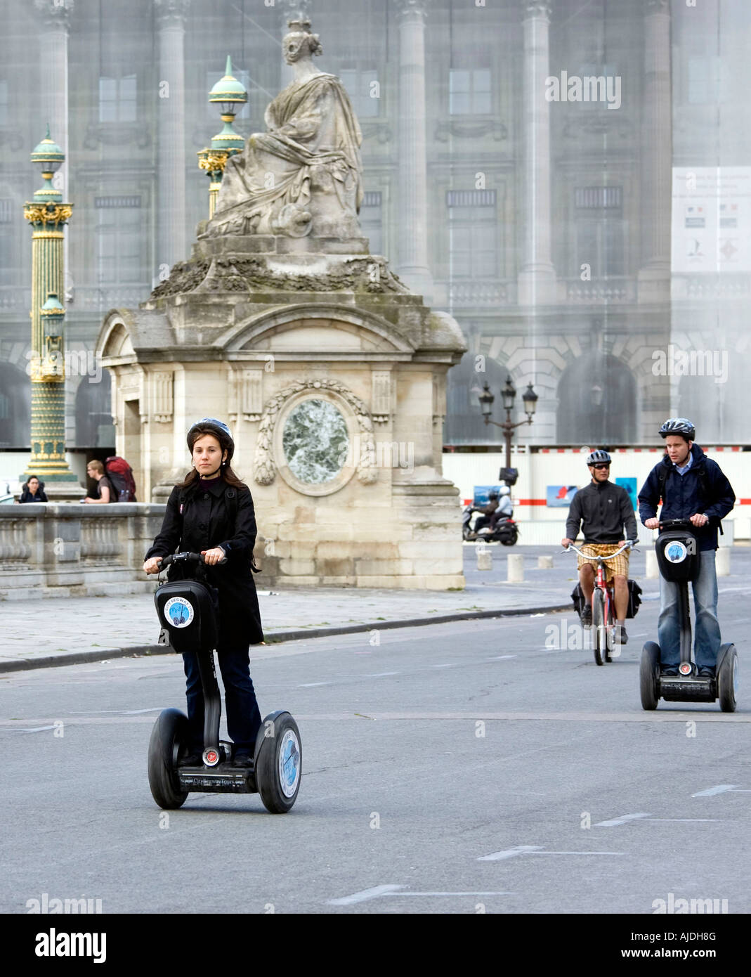 Tourists on Segway personal transporters in Place de la Concorde Stock Photo