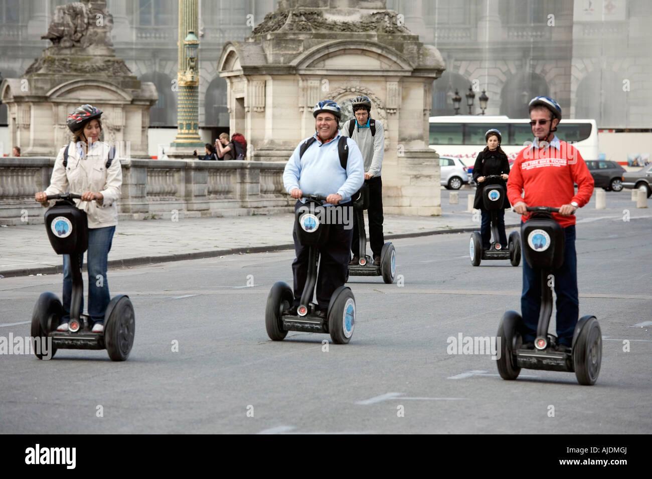 France Paris Tourists on Segway personal transporters in Place de la Concorde Stock Photo