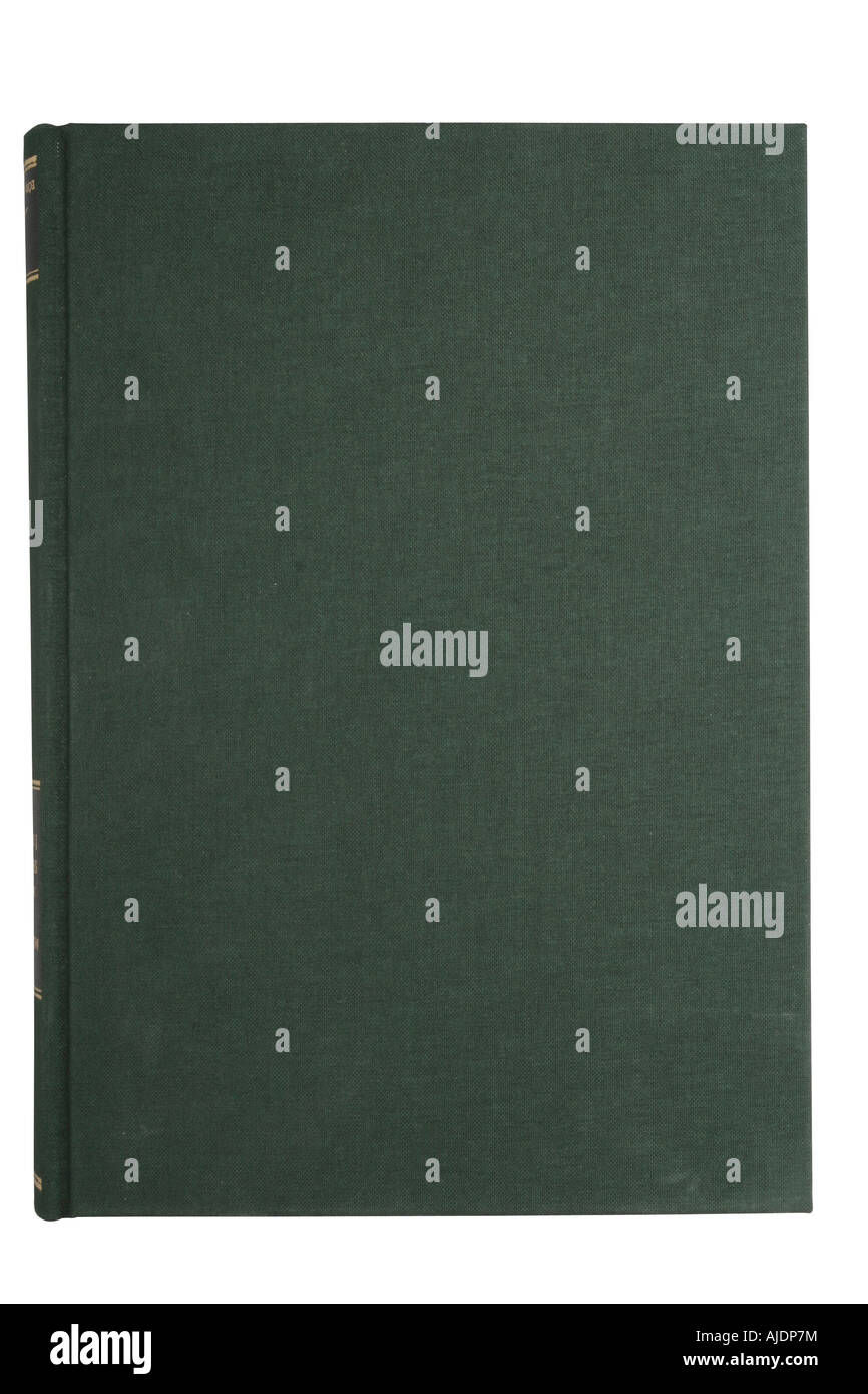 blank green book cover isolated on white with clipping path - Stock Image