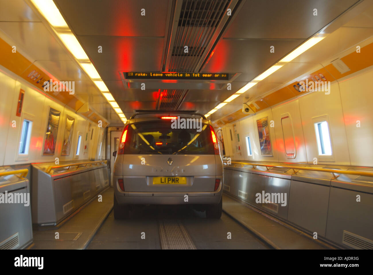 Eurostar Train Interior With Vehicle Inside Stock Photo