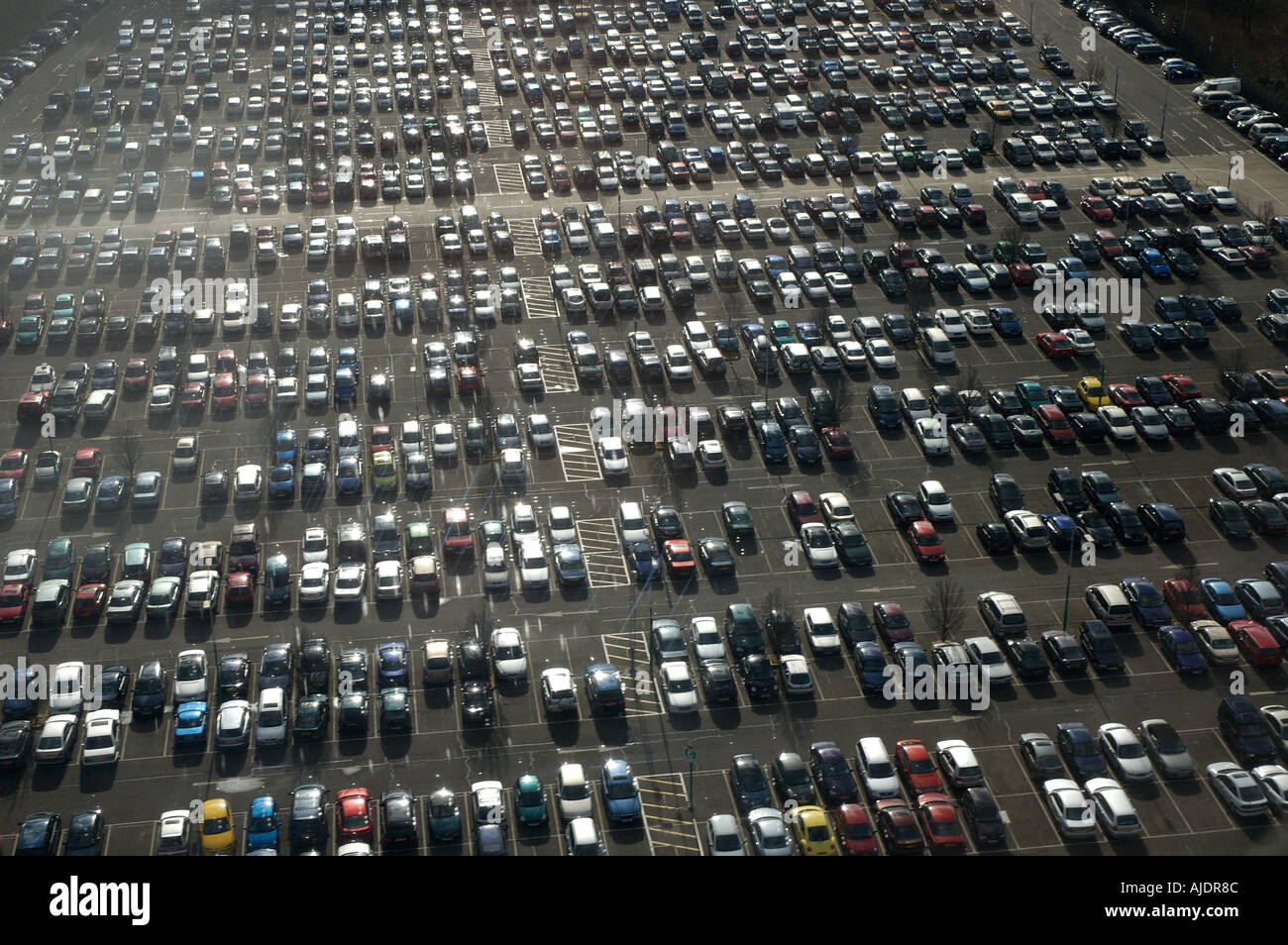 Cars parked at Gatwick airport Carpark - Stock Image
