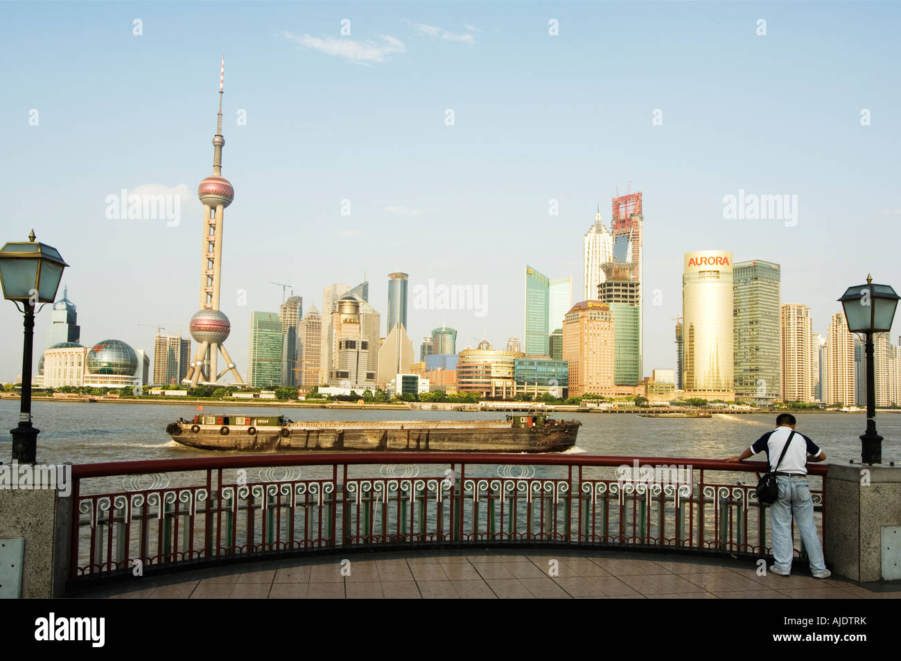 the oriental pearl tower modern buildings in pudong new area on the