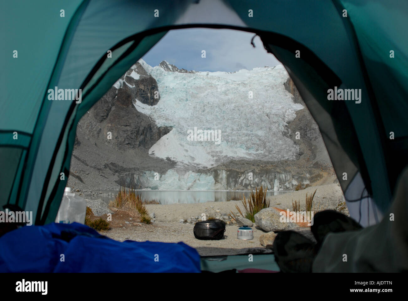 Lagunas Glaciar is seen from inside a tent at 5,038 meters located below Mount Illampu near Sorata, Bolivia, South - Stock Image