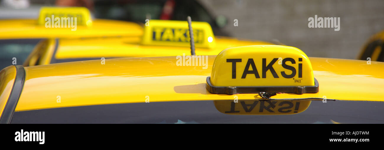 Istanbul close up of roof mounted Taxi cab signs Stock Photo