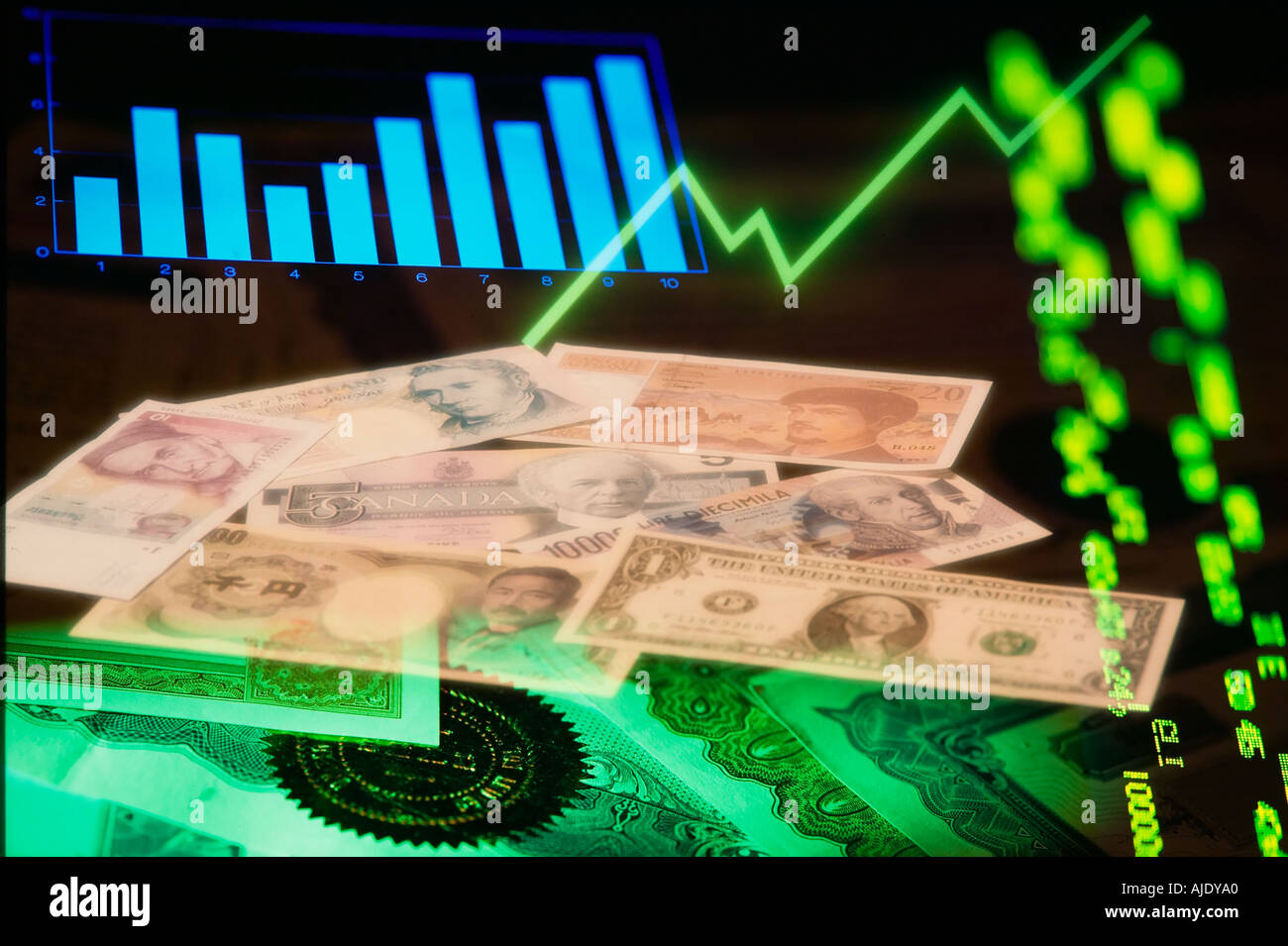 Graph currency stock certificates and ticker tape composite