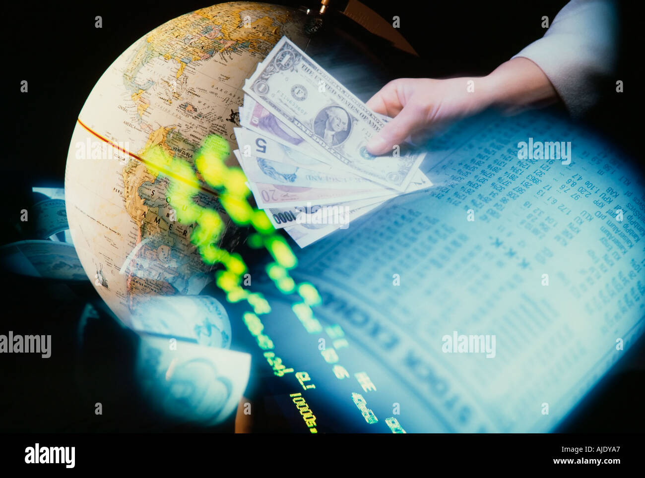 Globe Currency Newspaper stock pages and ticker tape