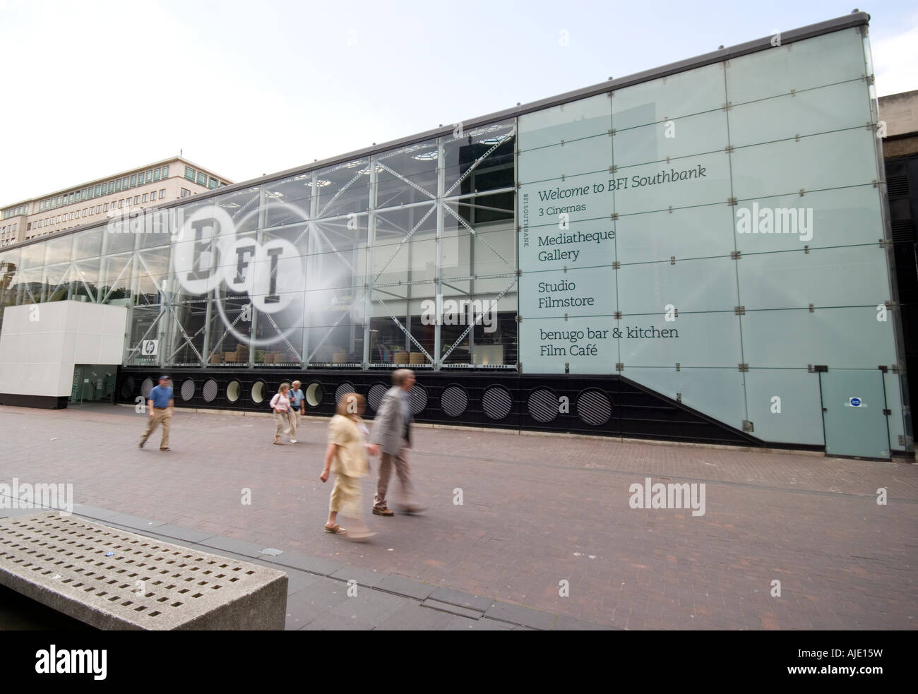 British Film Institute BFI on the London South Bank as new in 2007 - people in motion blur - Stock Image