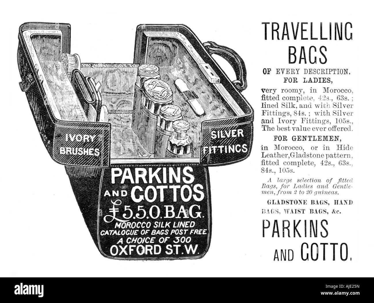 Victorian Engraving Advertising Gladstone Bags from Illustrated London News Circa 1891 - Stock Image