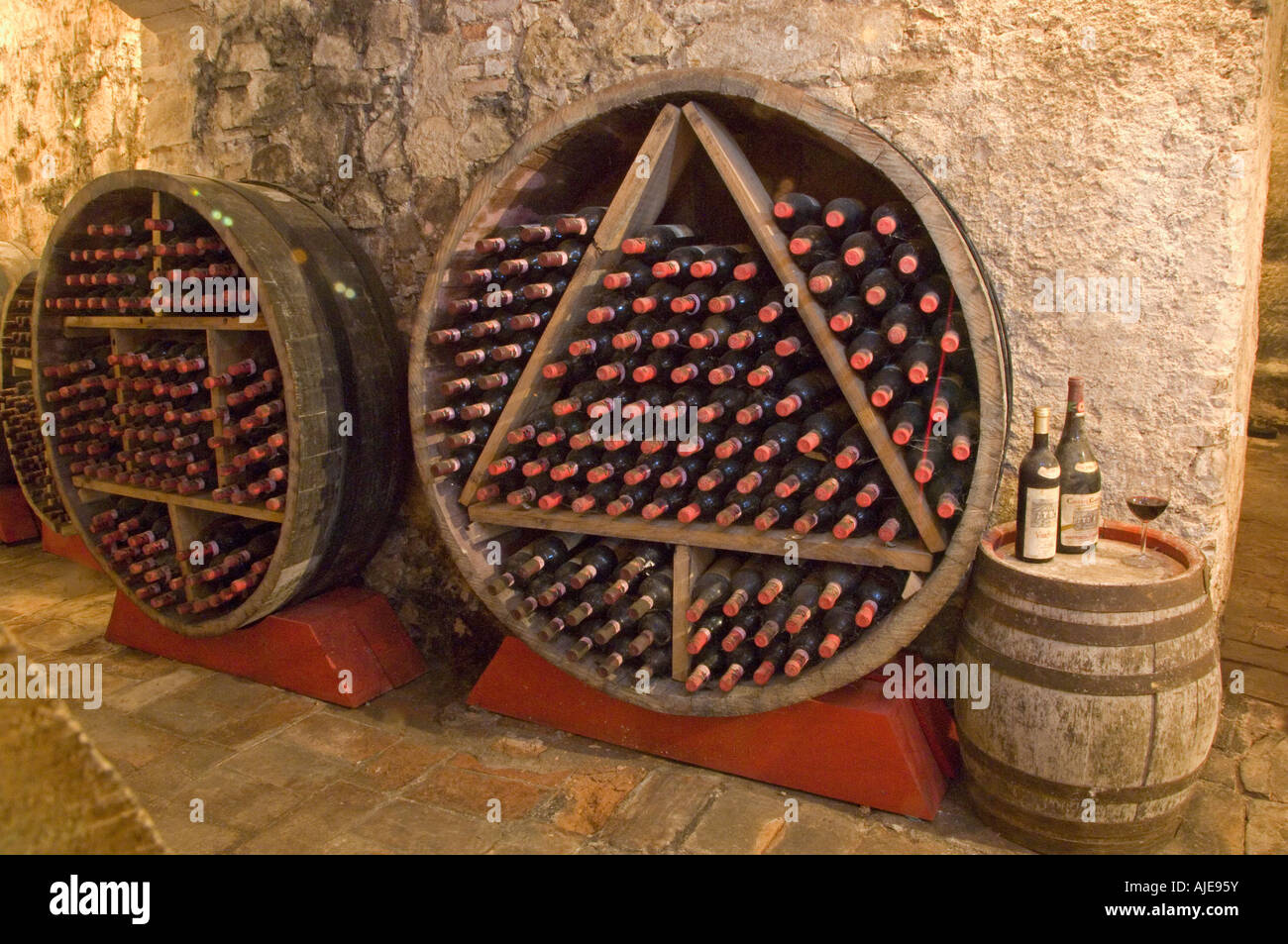 Inside a Chianti wine celler - Stock Image