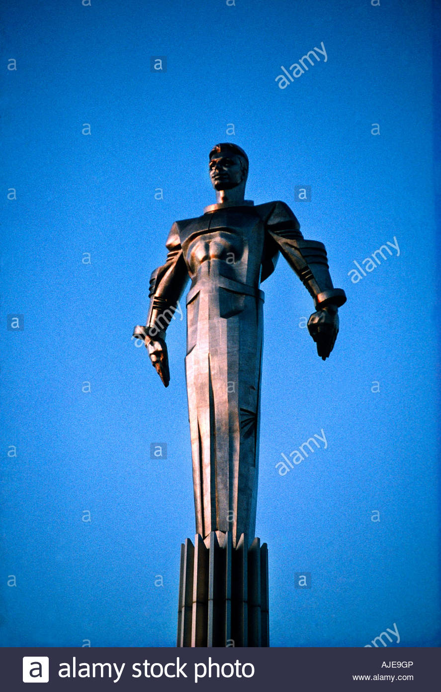 Statue of Cosmonaut Yuri Gagarin first man in space Moscow Russia - Stock Image