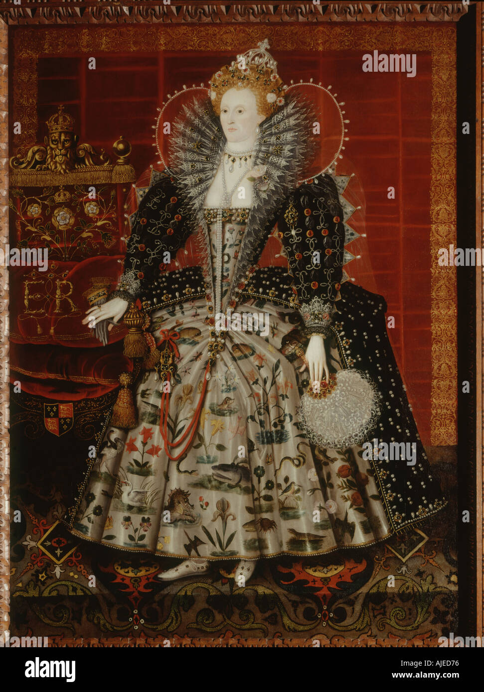 QUEEN ELIZABETH THE FIRST attributed to the C15th English School at Hardwick Hall Derbyshire - Stock Image
