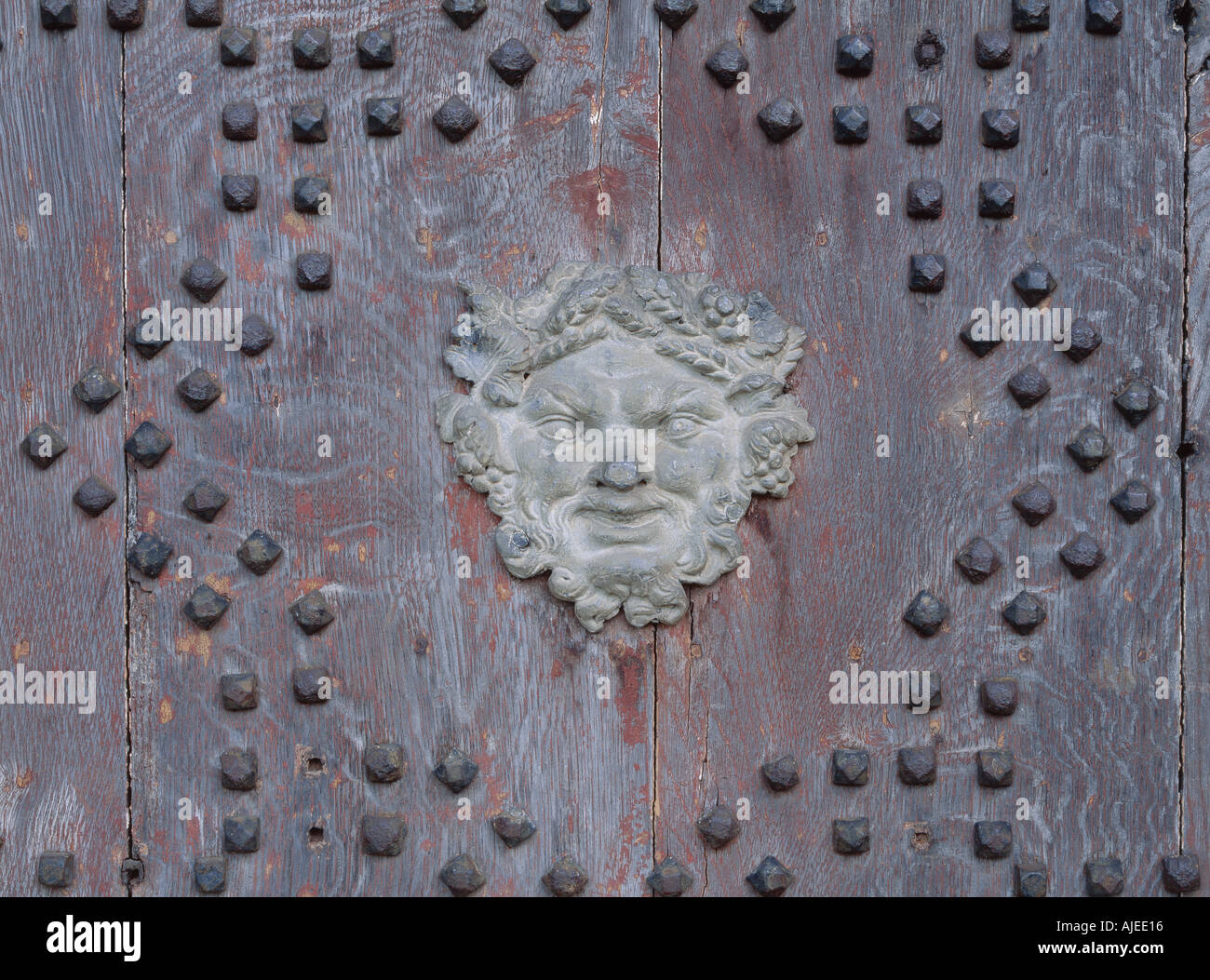 Close view of metalwork and studding on door of the Gothic temple at Stowe Landscape Gardens Buckinghamshire - Stock Image