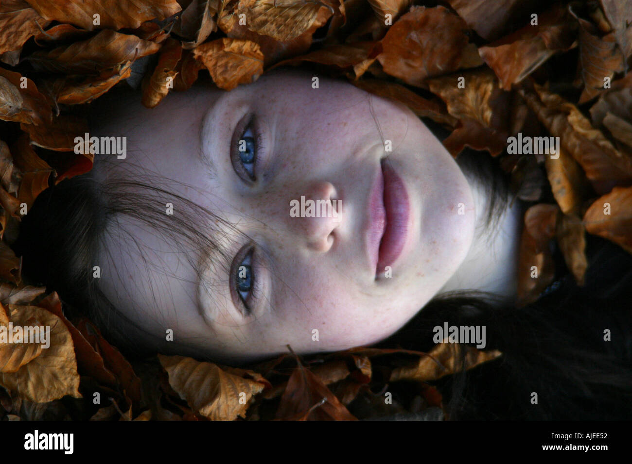 girl lying in autumn leaves - Stock Image