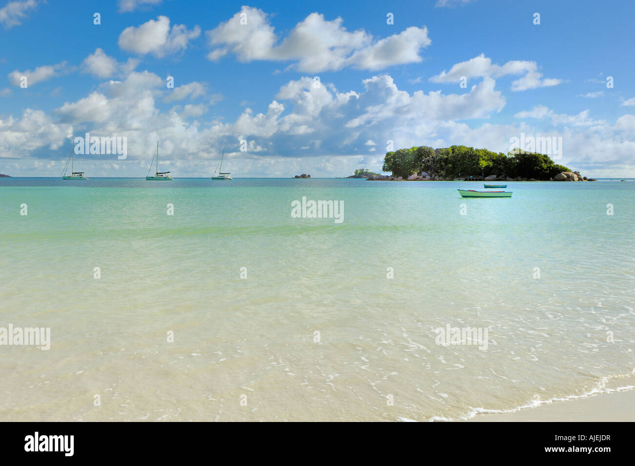 Tiny island in the warm calm waters of  Indian Ocean Stock Photo
