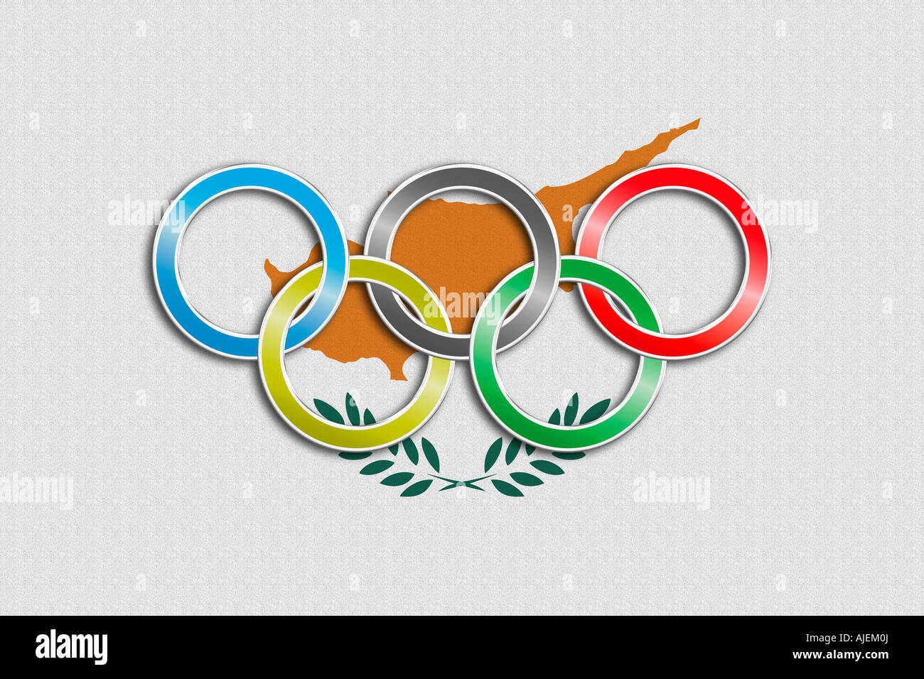 Flag of Cyprus with olympic symbol - Stock Image