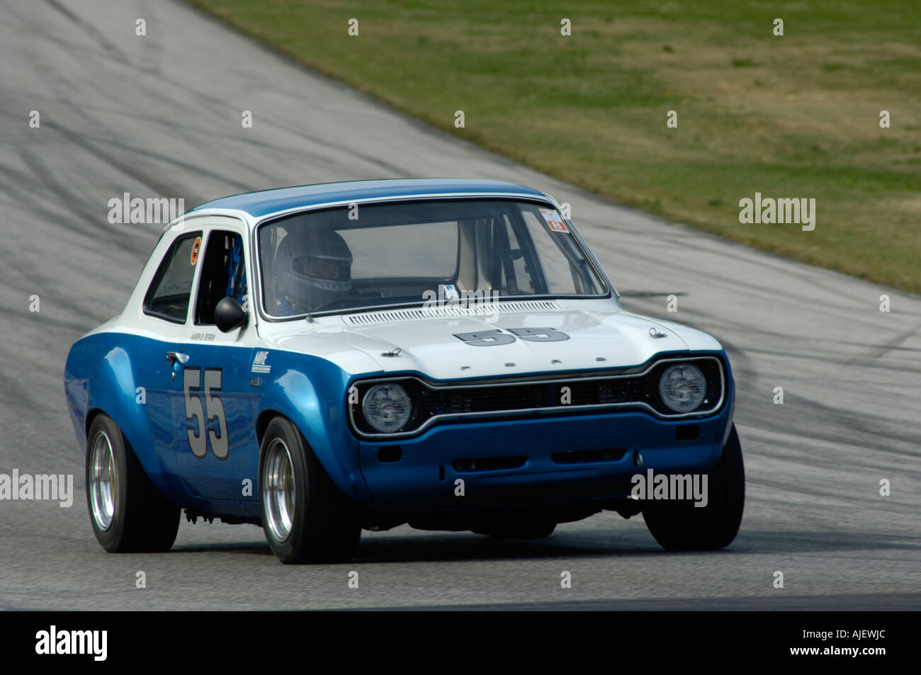 Karen Perrin Races Her  Ford Escort Rs At The  Kohler International Challenge With Brian