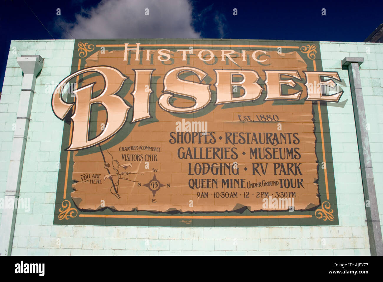Map Of Arizona 1880.Map On The Side Of A Building In Bisbee Arizona Stock Photo 4805494