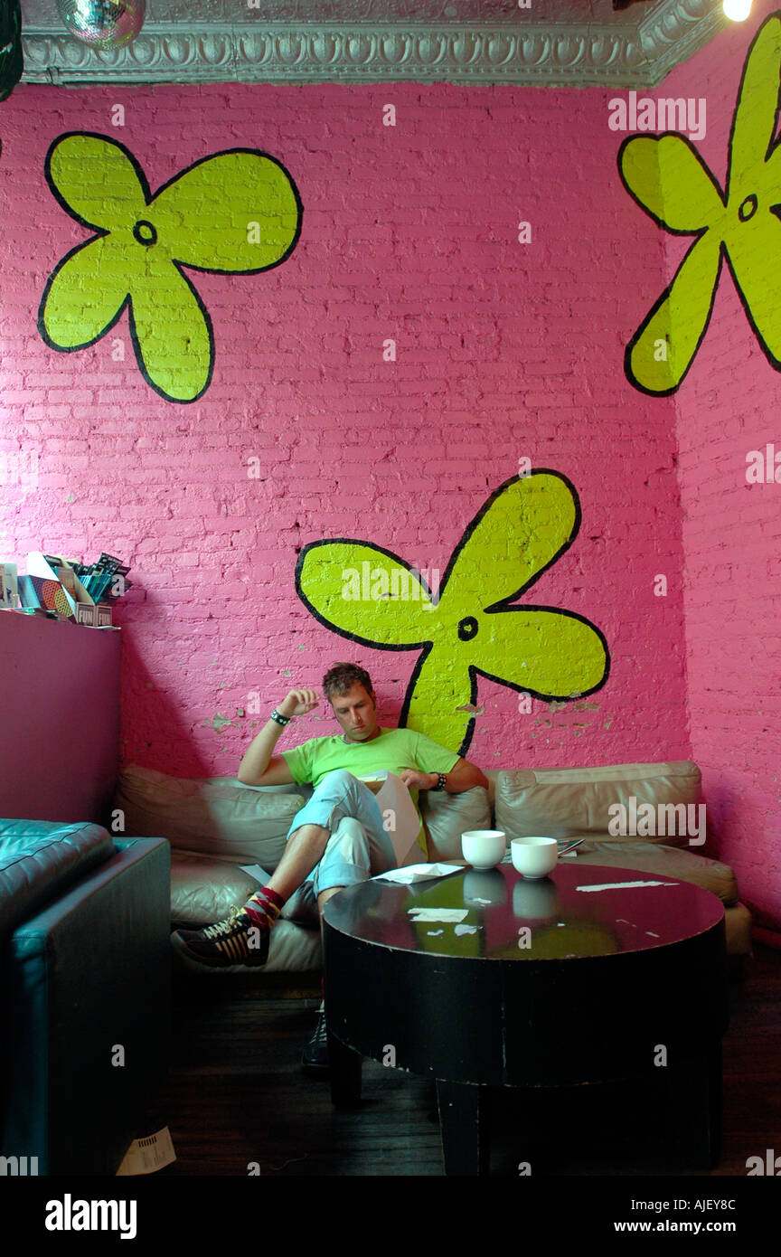 The Big Cup a gay oriented coffee shop in Chelsea  - Stock Image