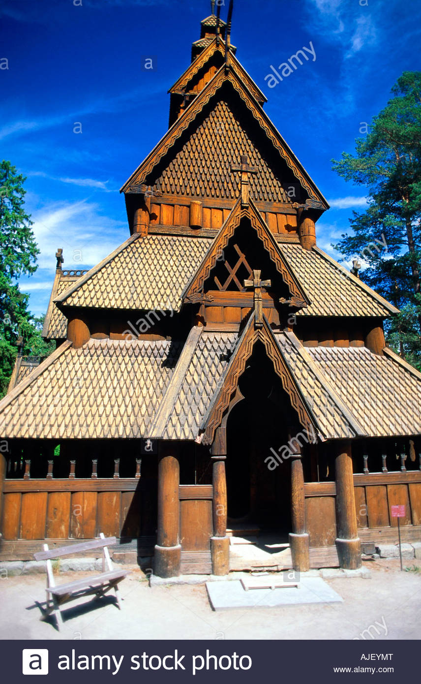 Gol Stave Church Norwegian Folk Museum Bygdoy Peninsula Oslo Norway - Stock Image