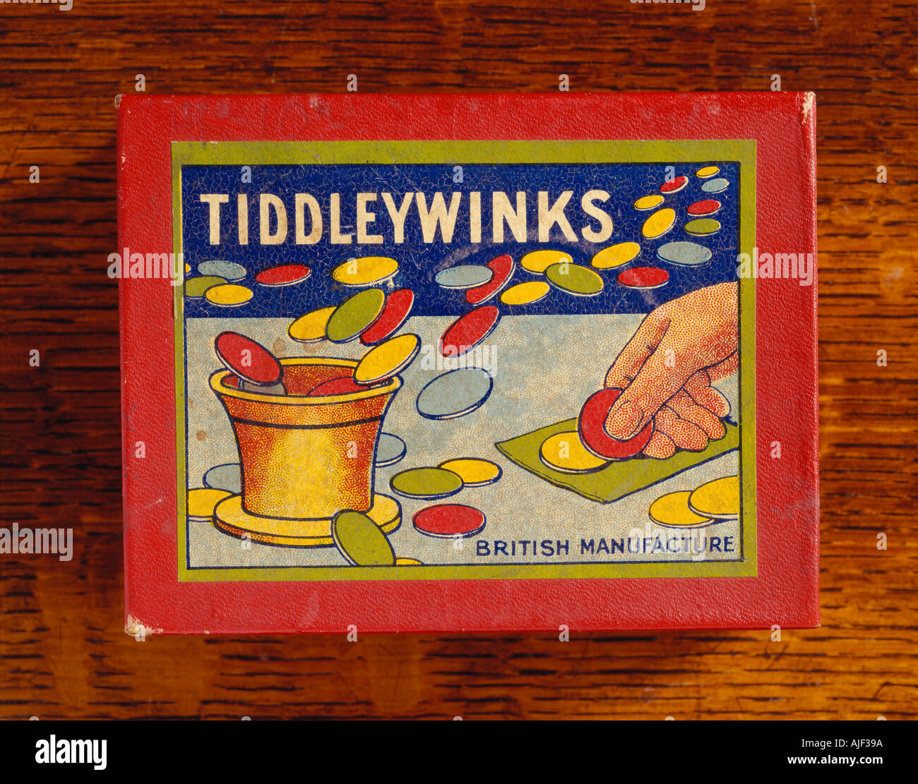 Detail of parlour game tiddleywinks in the Drawing Room at Sunnycroft Shropshire - Stock Image