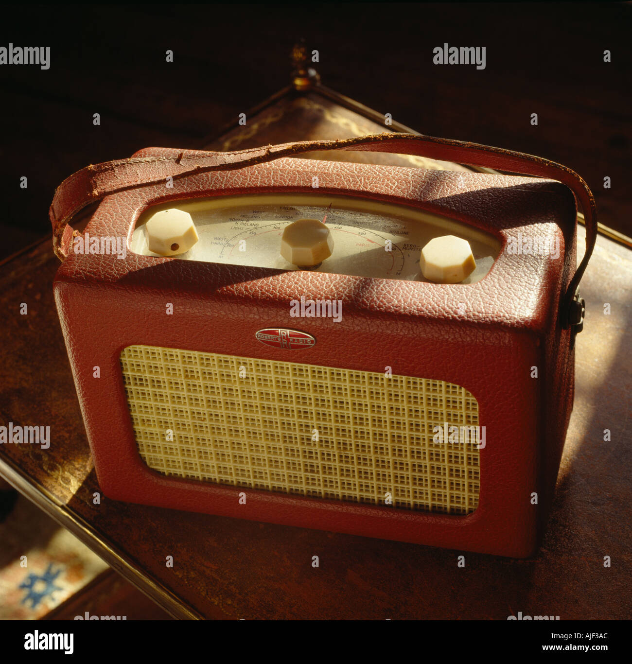 Close up of a Roberts radio on a table in the Drawing Room  at Chartwell Kent home of Sir Winston Churchill - Stock Image