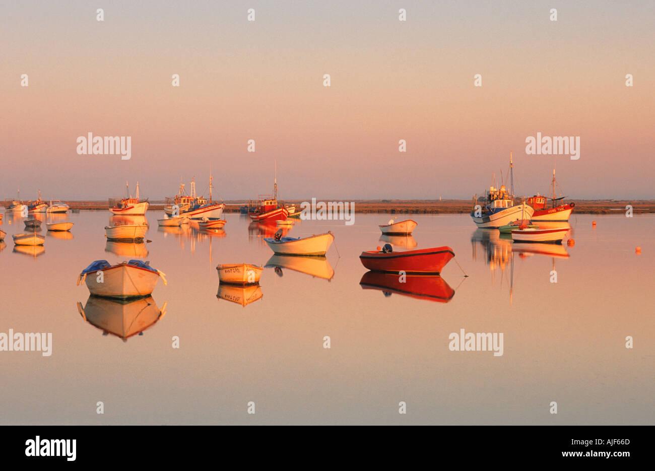 Boats in Santa Luzia Tavira Algarve Portugal Stock Photo