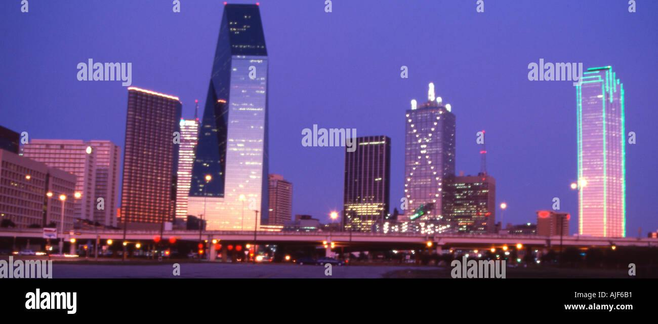Dusk shot of Dallas Texas - Stock Image