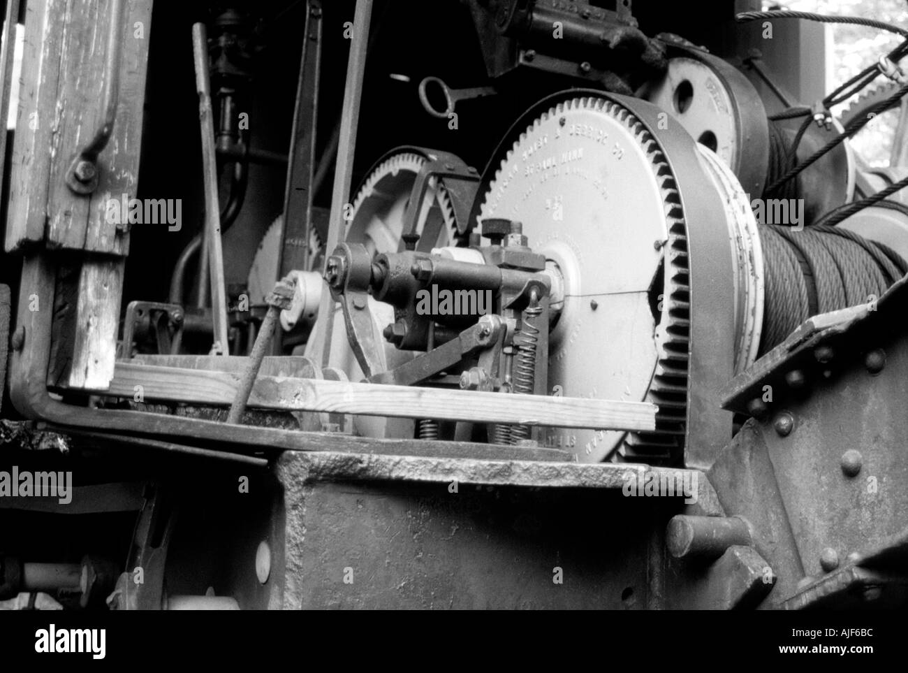 Train winch in Black and White - Stock Image