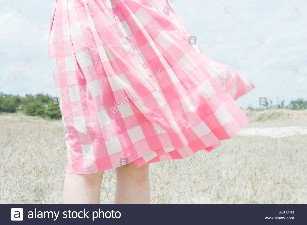Skirt blowing in breeze - Stock Image