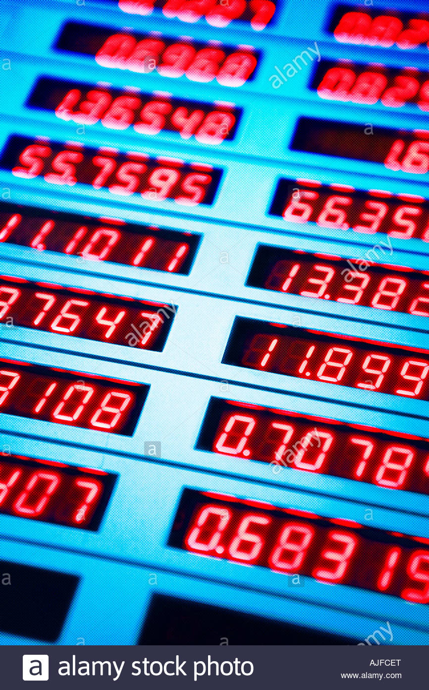 Currency exchange board - Stock Image