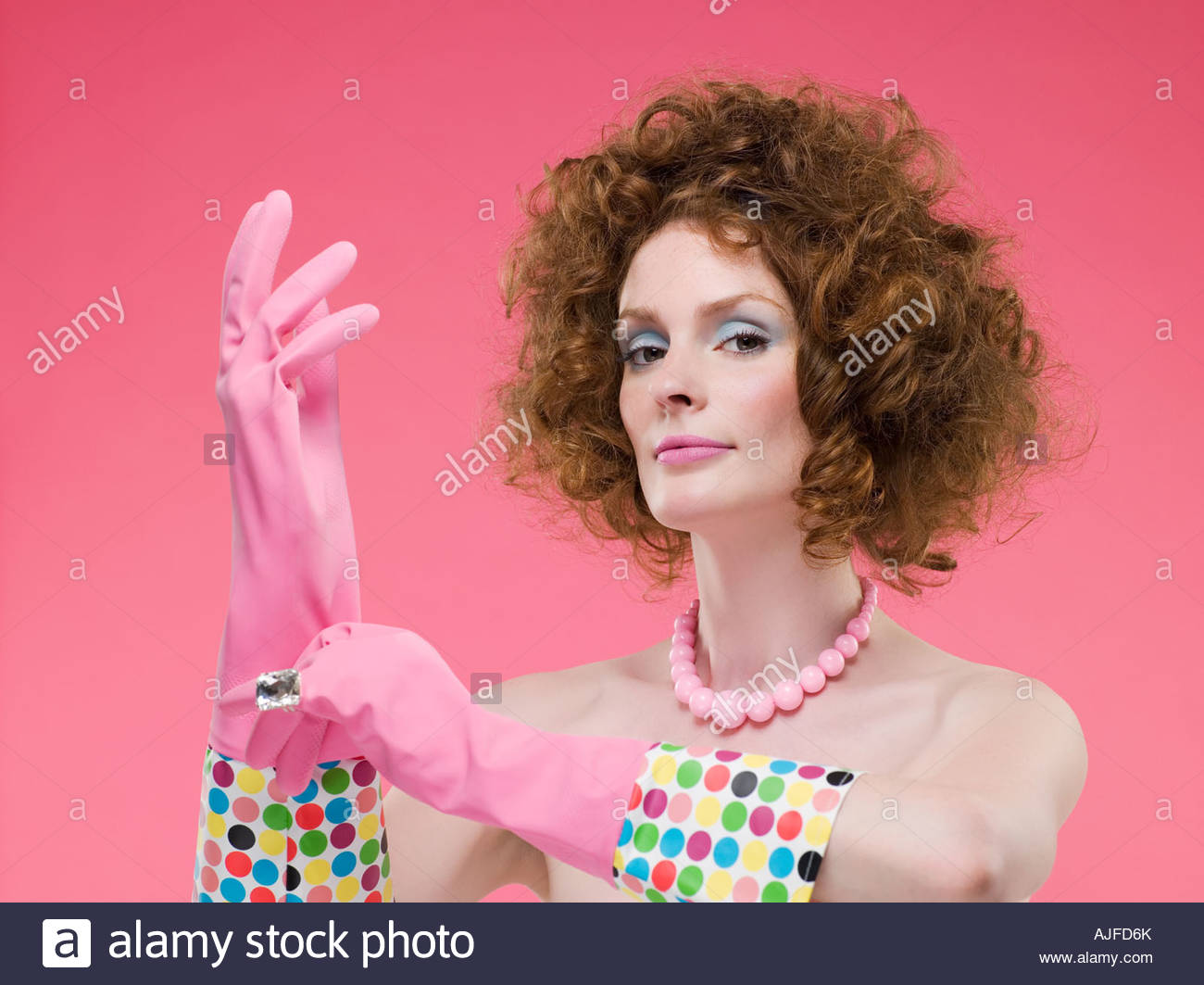 Mature ladies wearing latex gloves