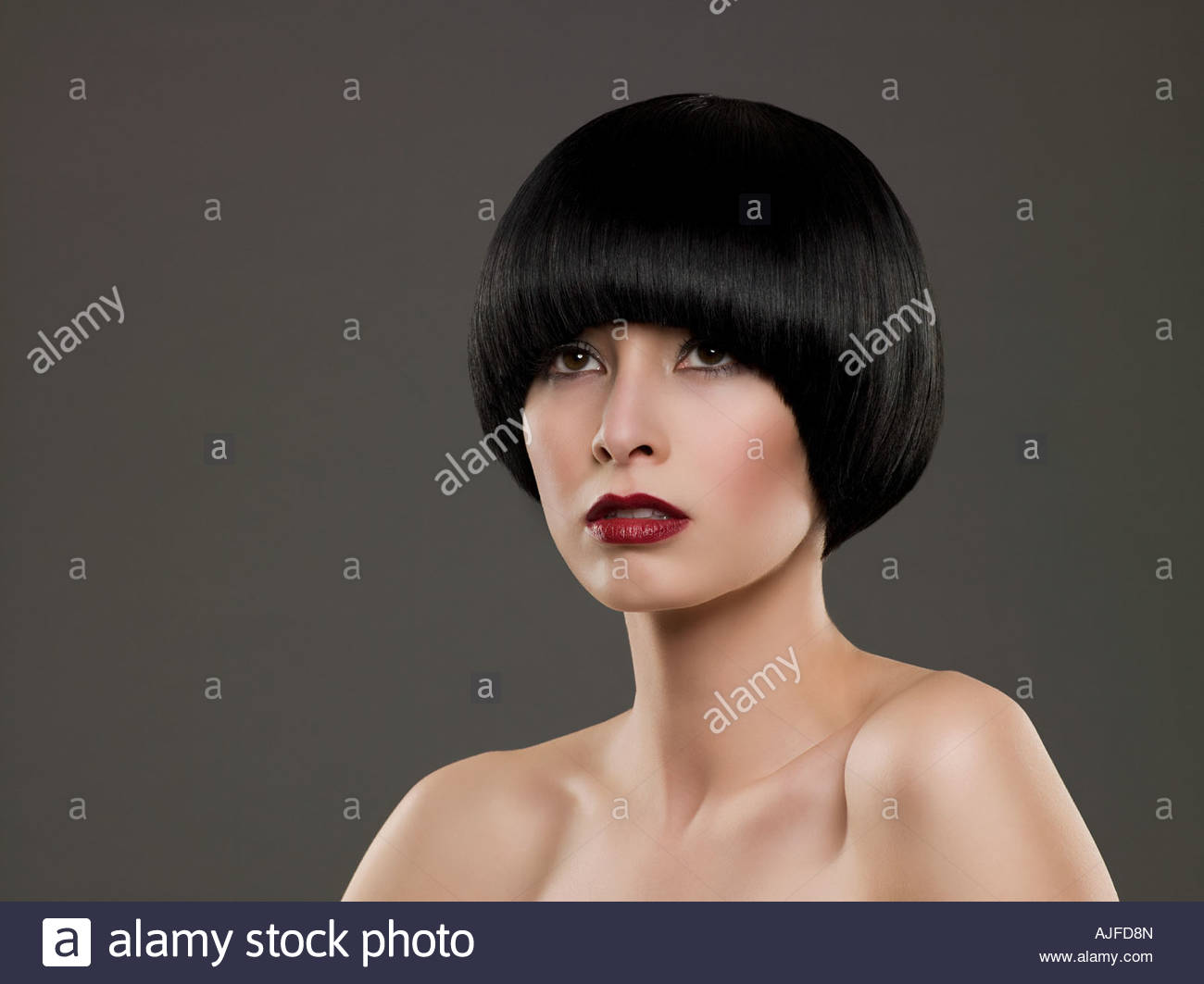Portrait of a woman with a bob hairstyle - Stock Image