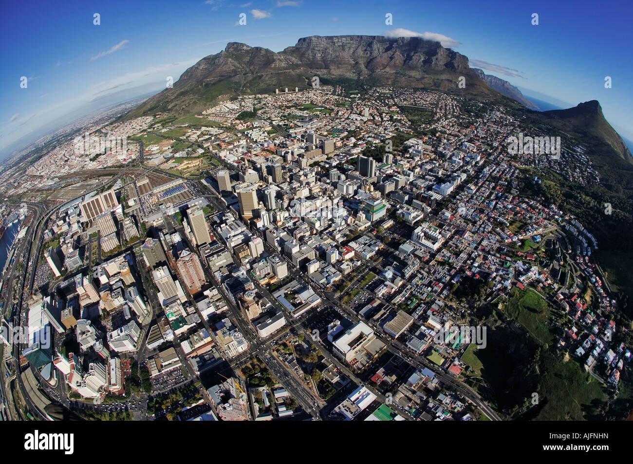 Fish eye aerial view of the Cape Town and table mountain South Africa - Stock Image