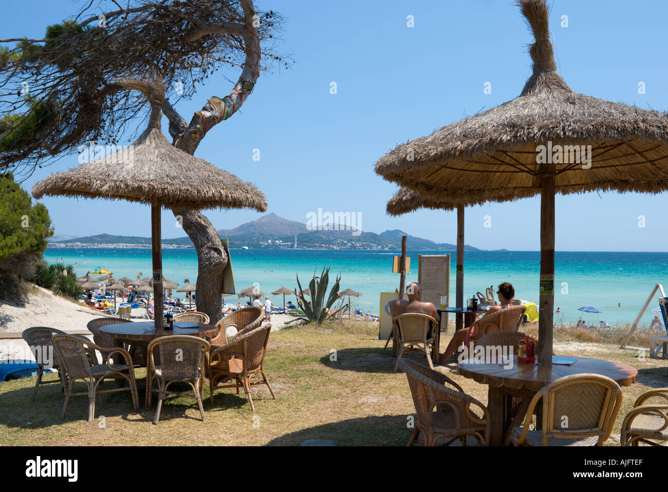 Beach Bar, Platja de Muro, Alcudia, Mallorca, Spain - Stock Image