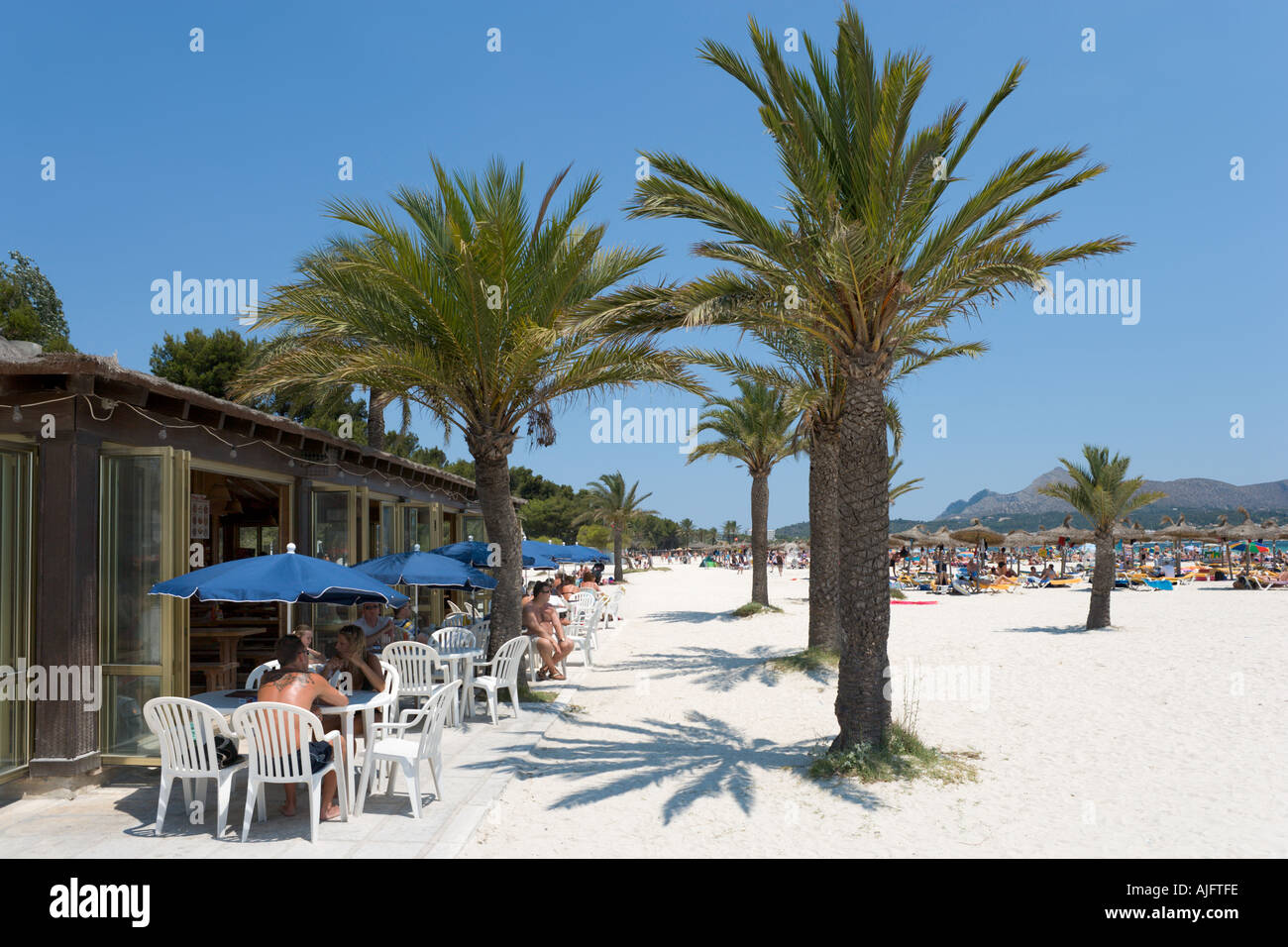 Beach Bar, Puerto de Alcudia, Mallorca, Spain - Stock Image