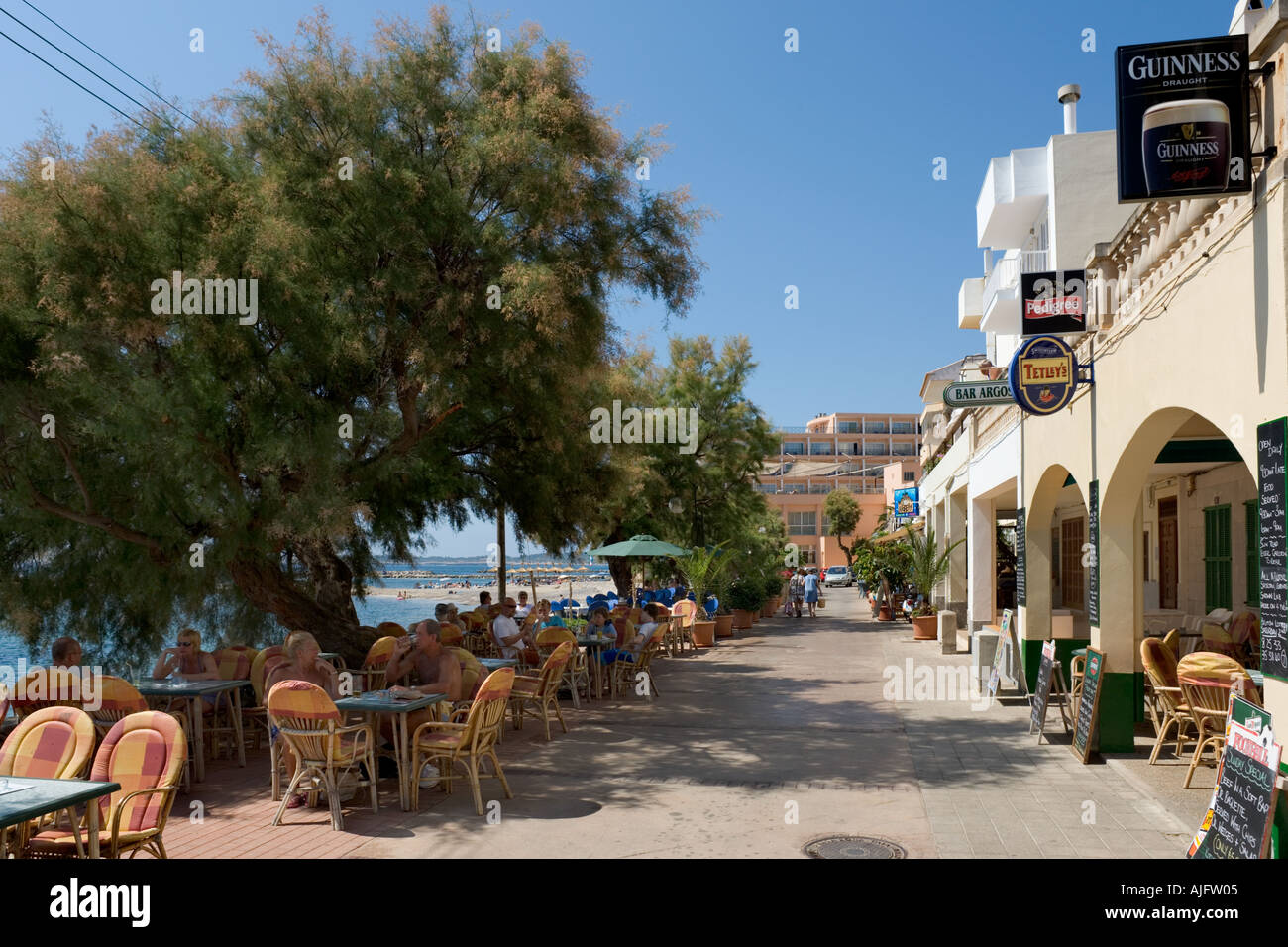 Beachfront Restaurant, Cala Bona, East Coast, Mallorca, Spain - Stock Image