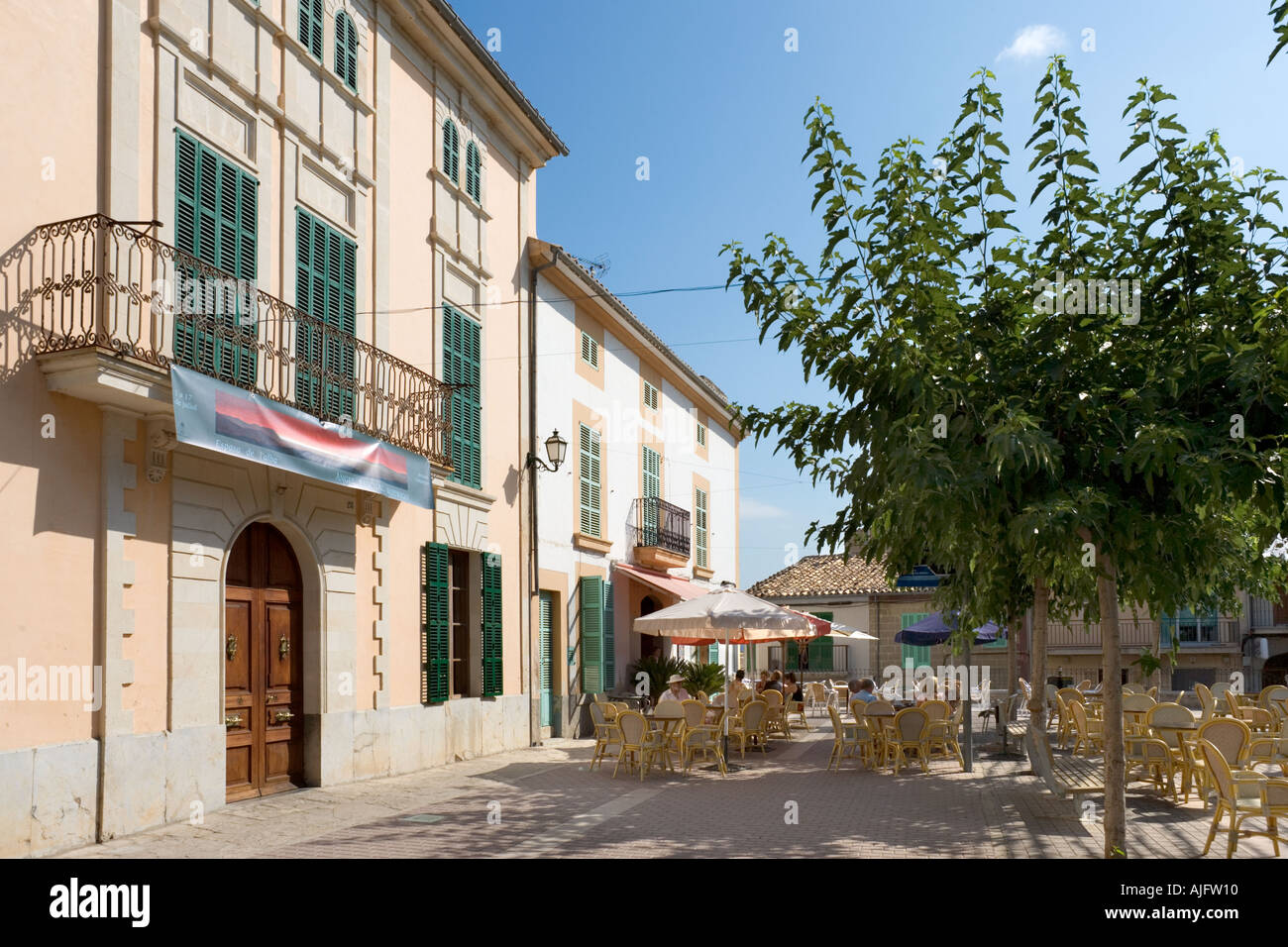 Cafe in the Main Square (Placa Major), Campanet, North of the island, Mallorca, Spain - Stock Image