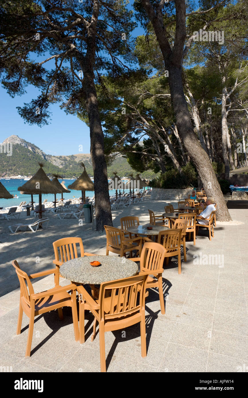 Beachfront Cafe, Formentor, North Coast, Mallorca, Spain - Stock Image