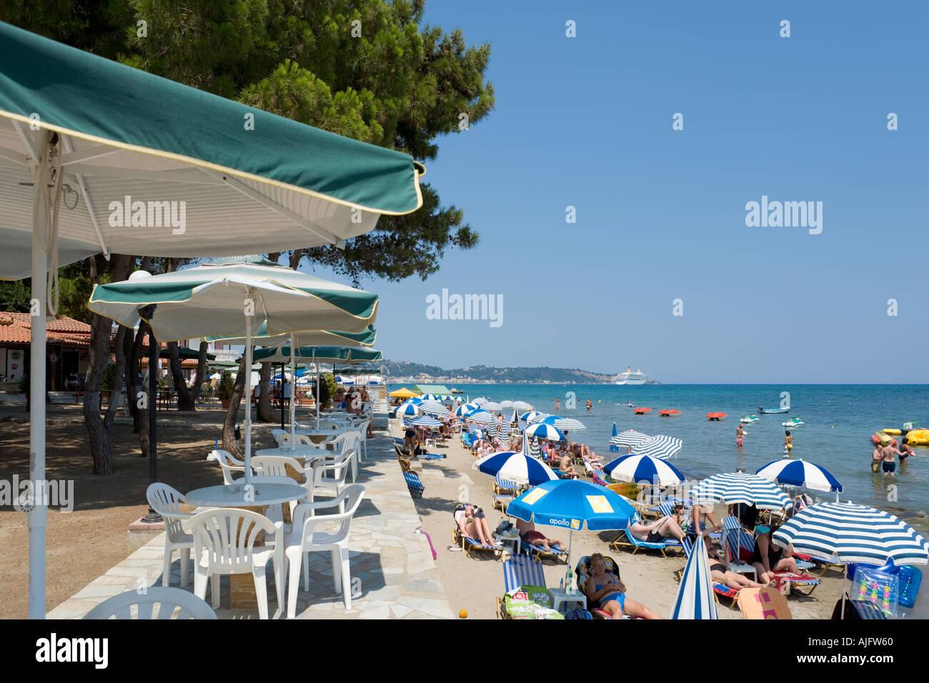 Beachfront Cafe, Argassi, Zakynthos, Ionian Islands, Greece - Stock Image