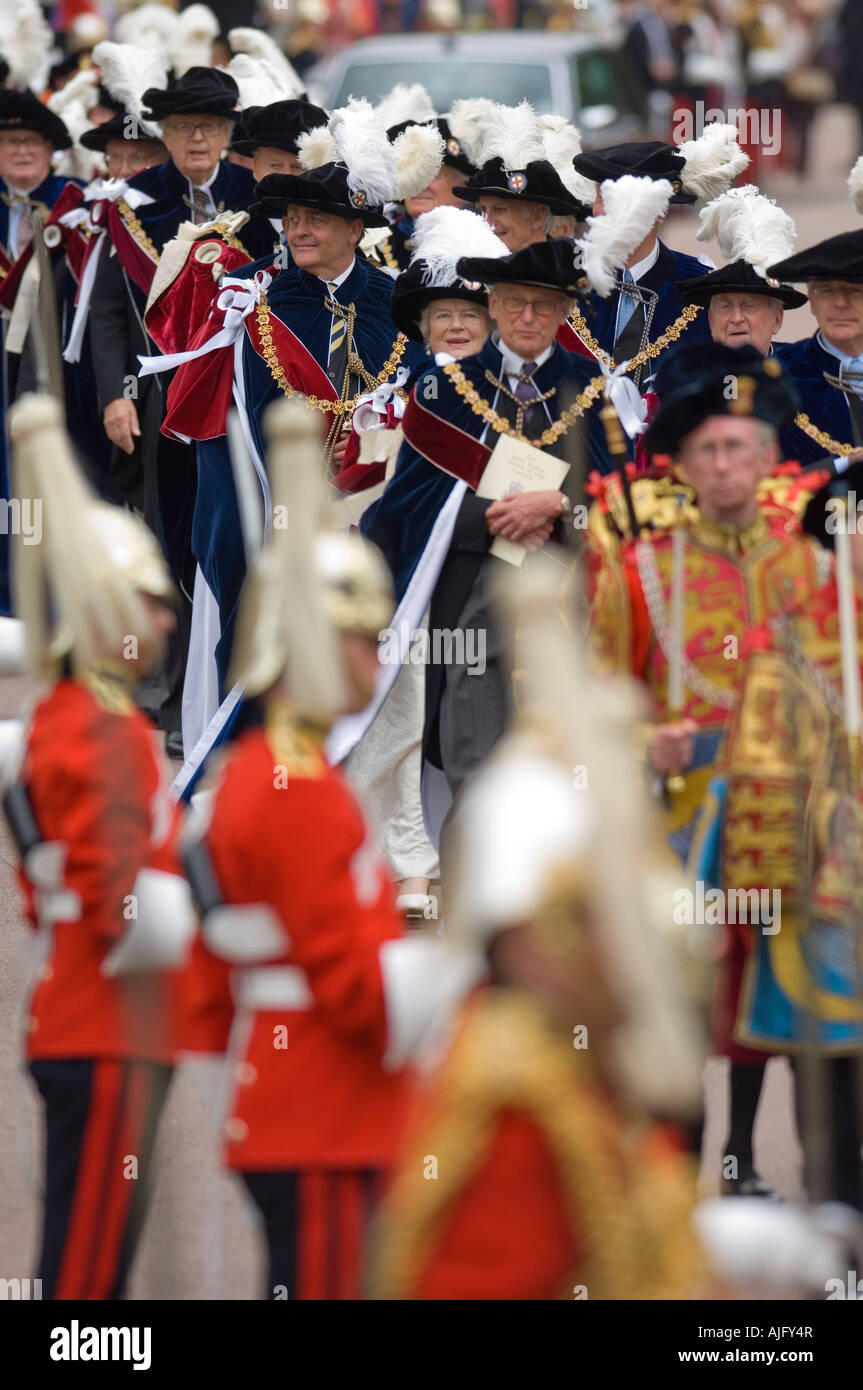 Knights during the Order of the Garter Procession outside St George's Chapel Windsor Castle - Stock Image